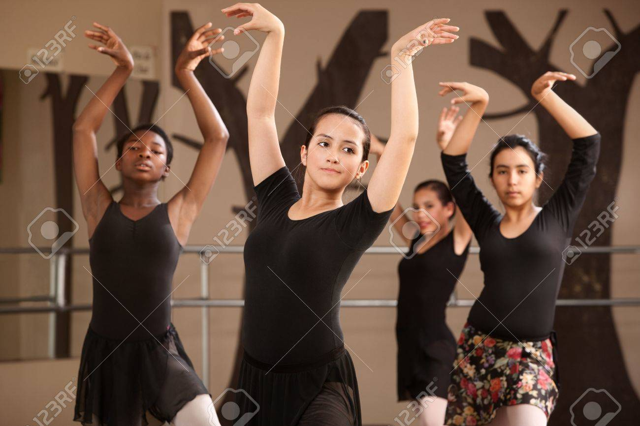 Group of serious ballet dance students performing Stock Photo - 14095883