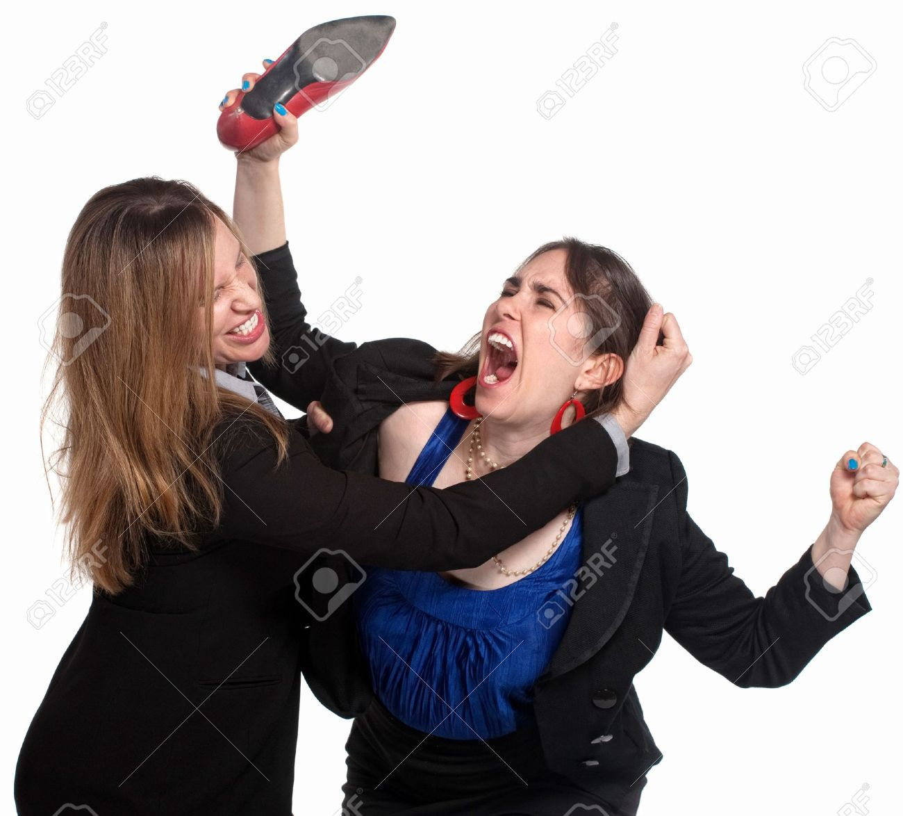 Two professional woman fighting over white background Stock Photo - 14383275