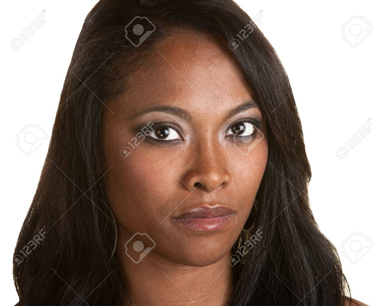 Serious Black woman with long hair on isolated background Stock Photo - 14825333