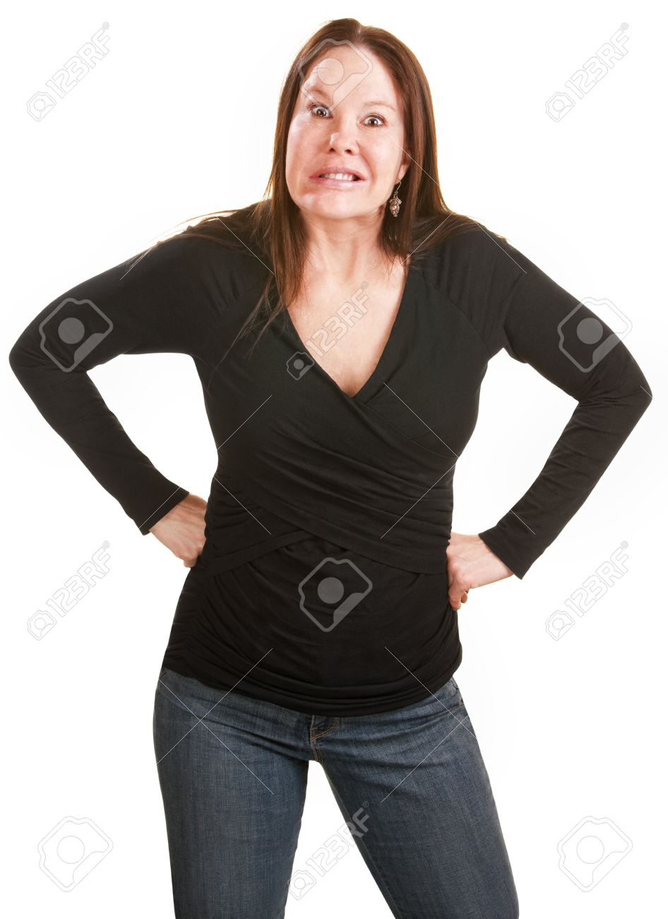 Frustrated European woman in black with hands on hips Stock Photo - 15433157