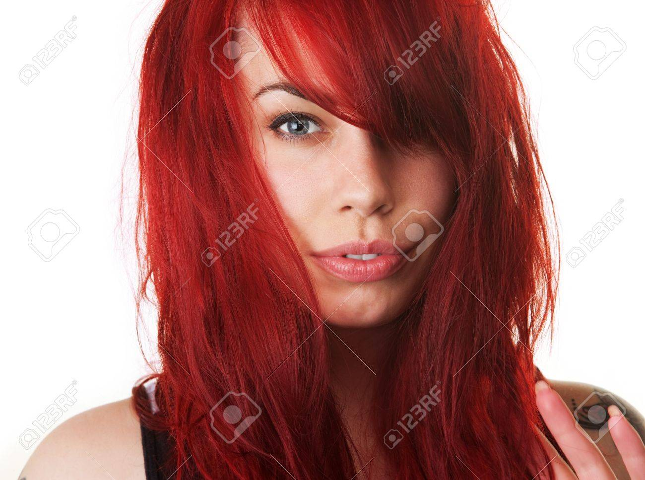 Sensual European female with red blown out hair Stock Photo - 16190298