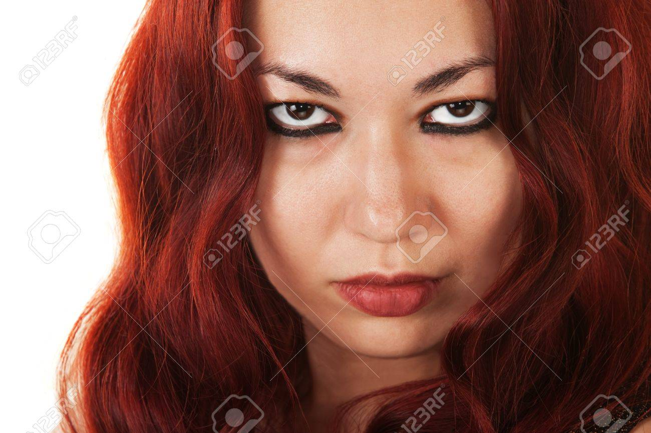 Close up of serious Latina Beauty over white background Stock Photo - 16300143