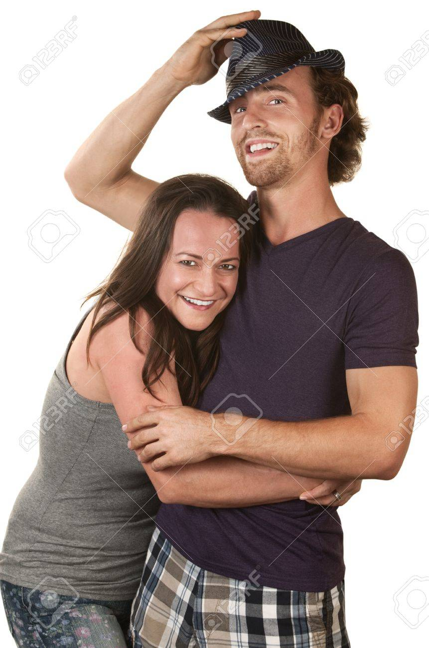 Happy European couple embracing over isolated background Stock Photo - 16300113