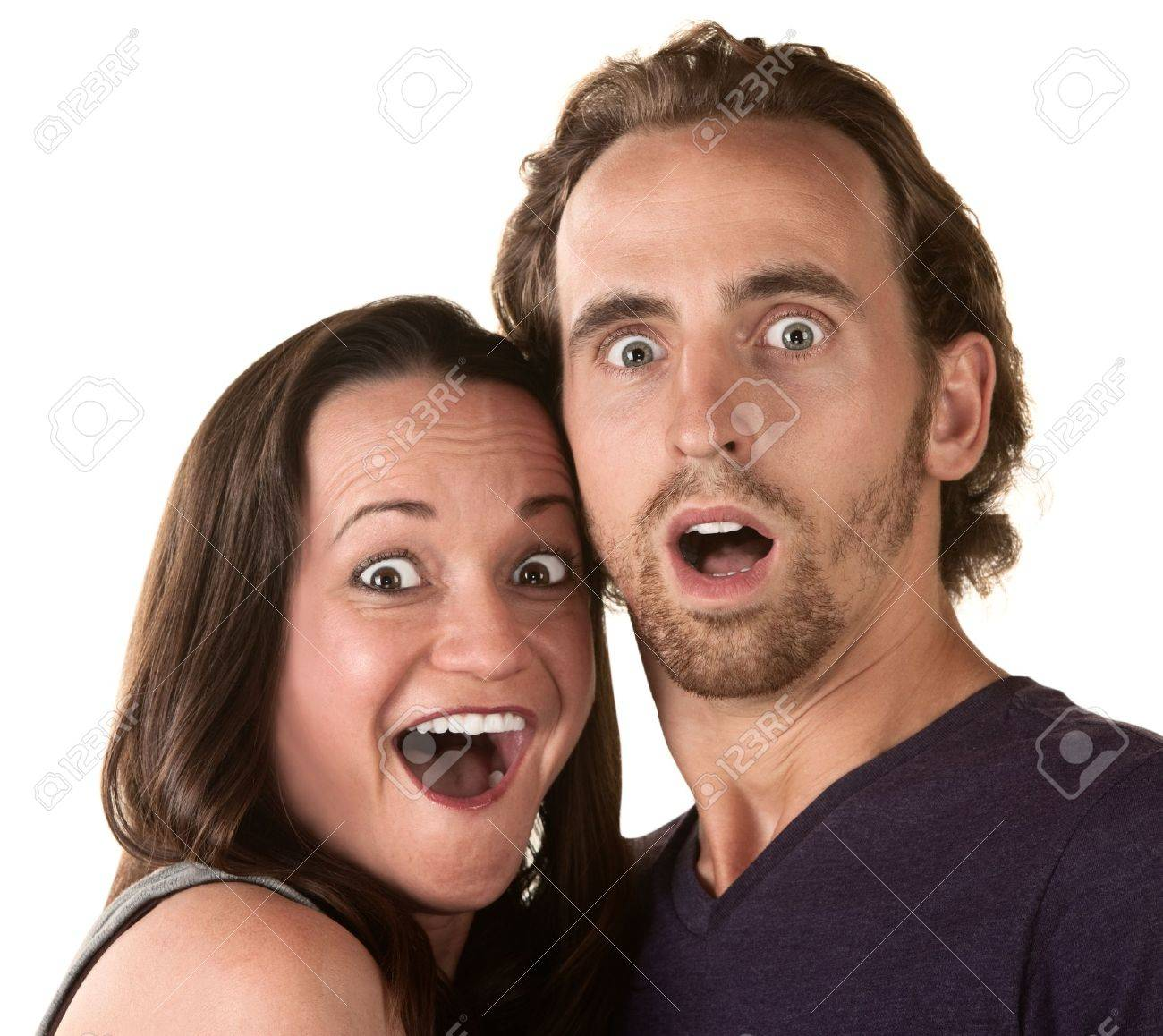 Surprised white man and woman over isolated background Stock Photo - 16300094
