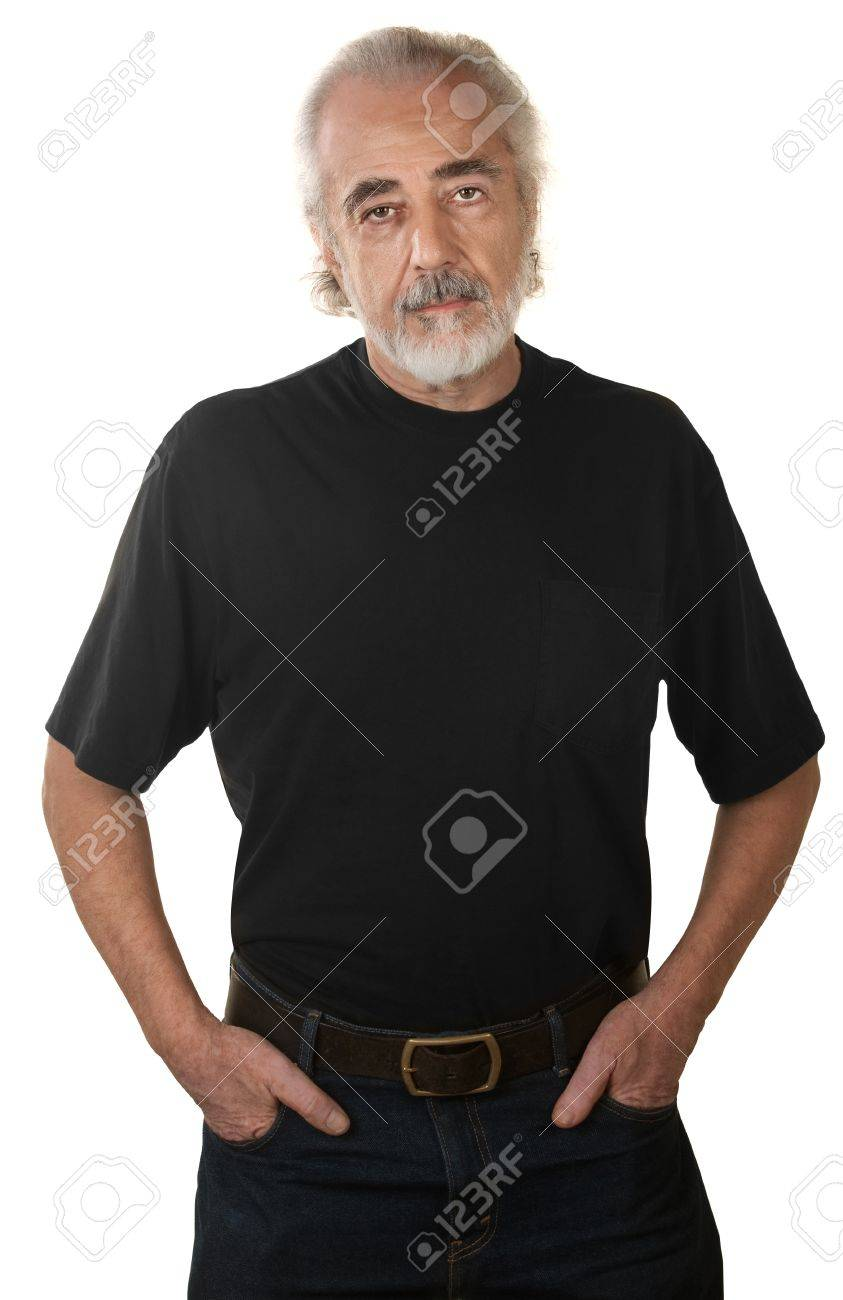 Serious mature man with hands in pockets over white background Stock Photo - 16472996