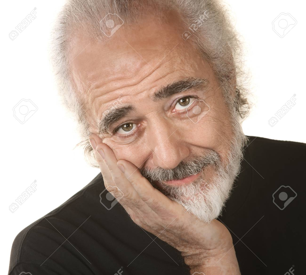 Handsome mature man resting head in palm Stock Photo - 16473120