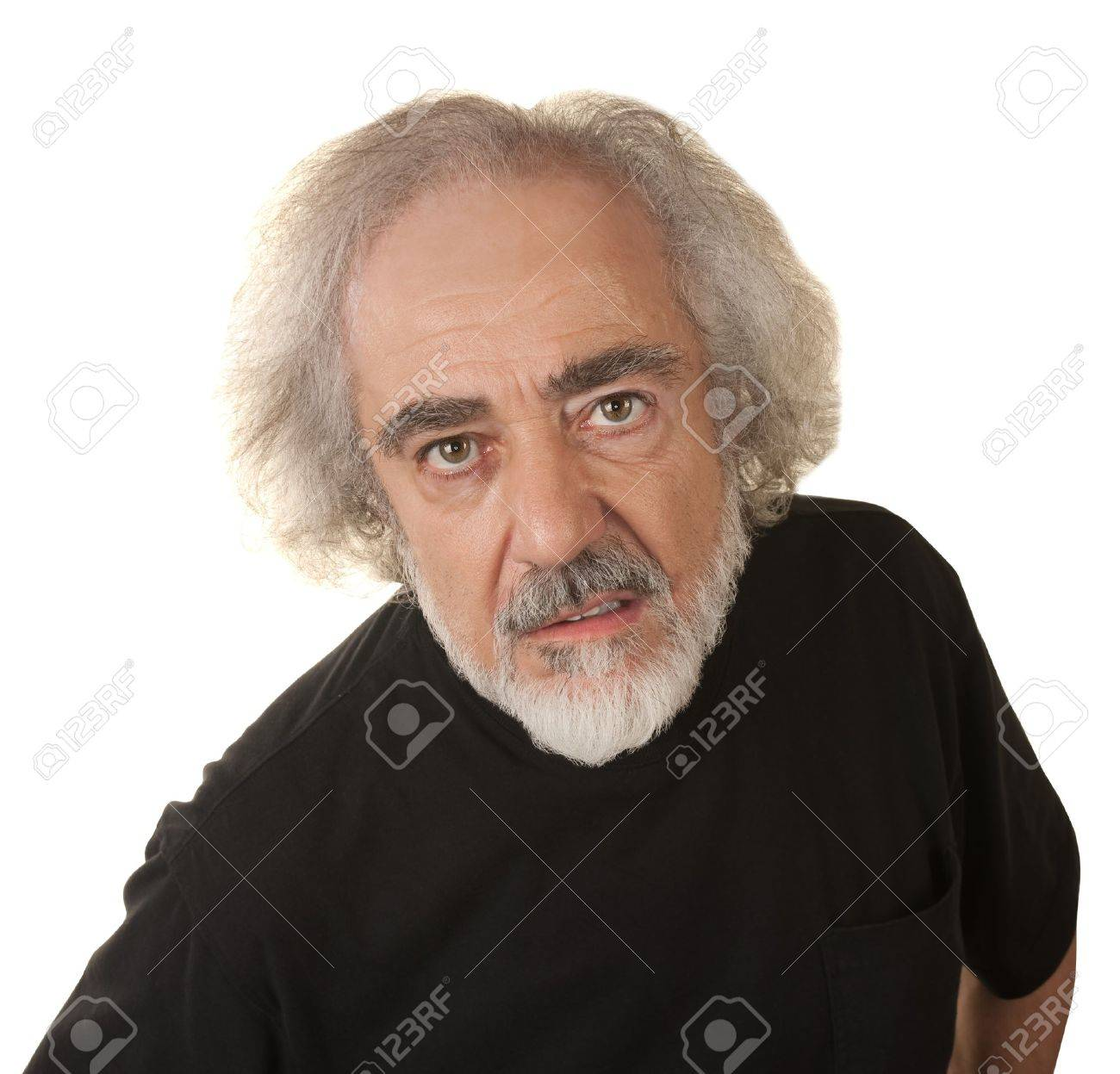 Disappointed older man in black over isolated background Stock Photo - 16472967