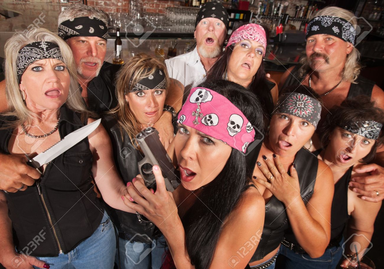 Shocked crowd of motorcycle gang members with weapons Stock Photo - 17301791
