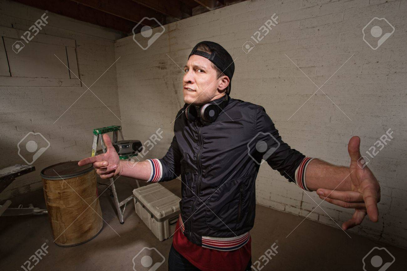 Fiesty cool European urban man with hand gestures Stock Photo - 19242557