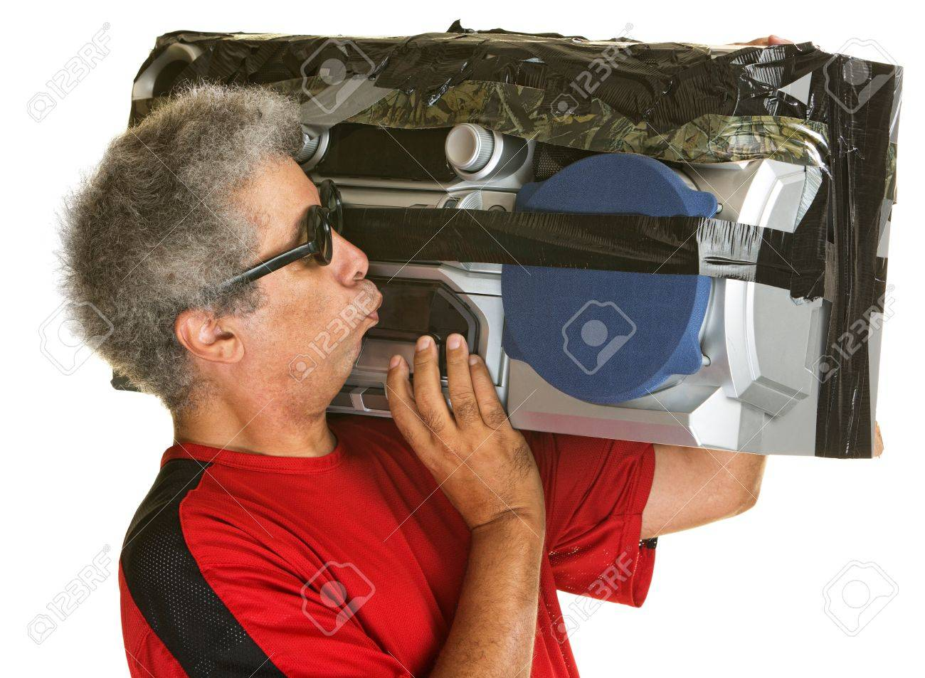 mature man kissing large portable radio over isolated background