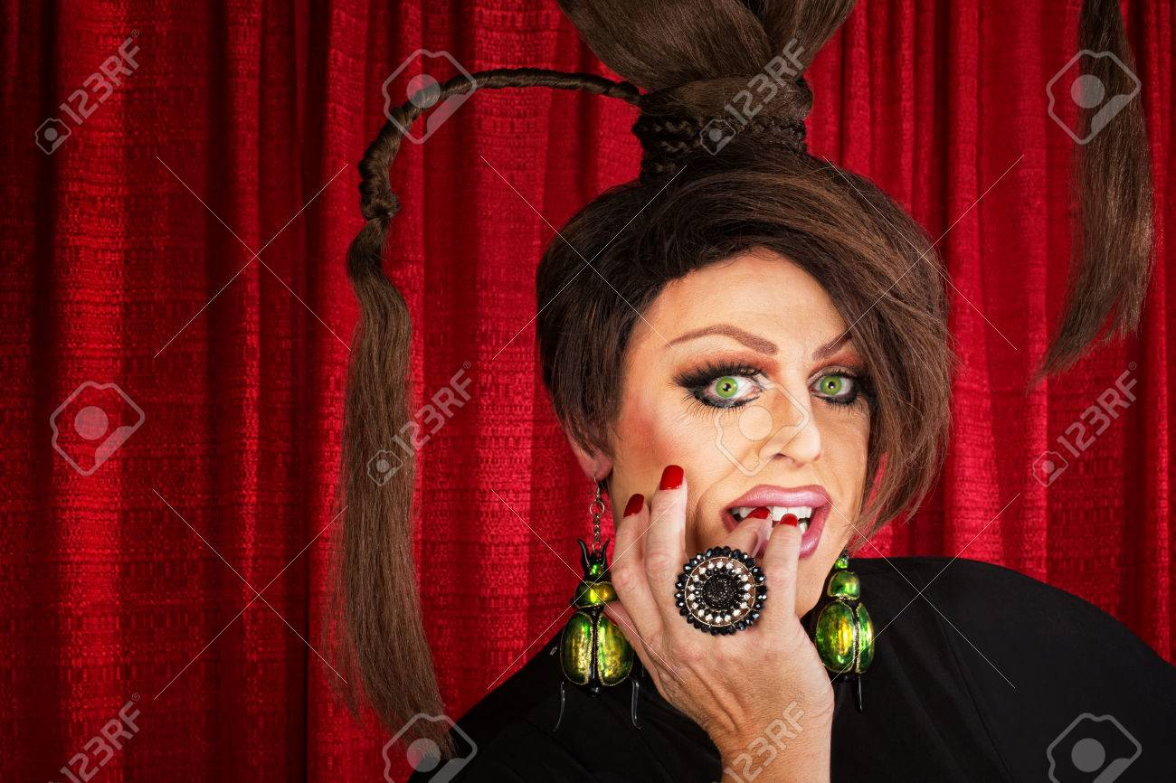 Beautiful Drag Queen Staring And Biting Nails Stock Photo 24423889