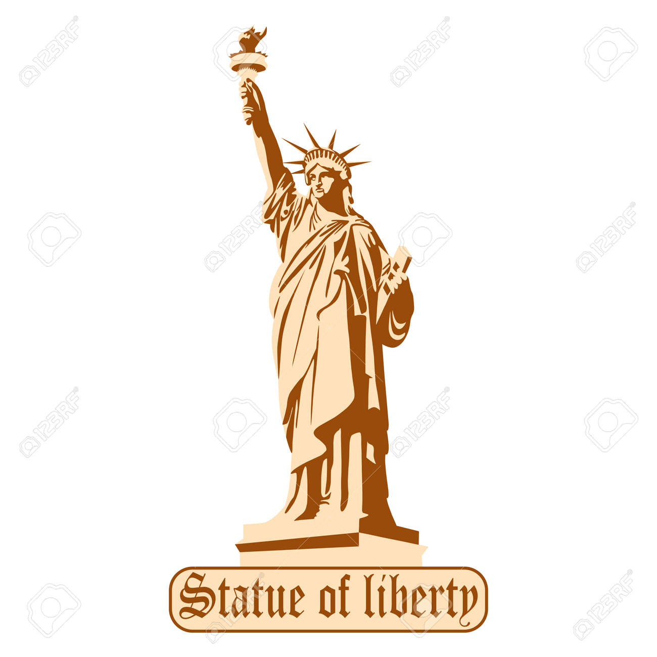 Silhouette of the monument with the inscription Statue of Liberty, Portrait. picture. - 167865663