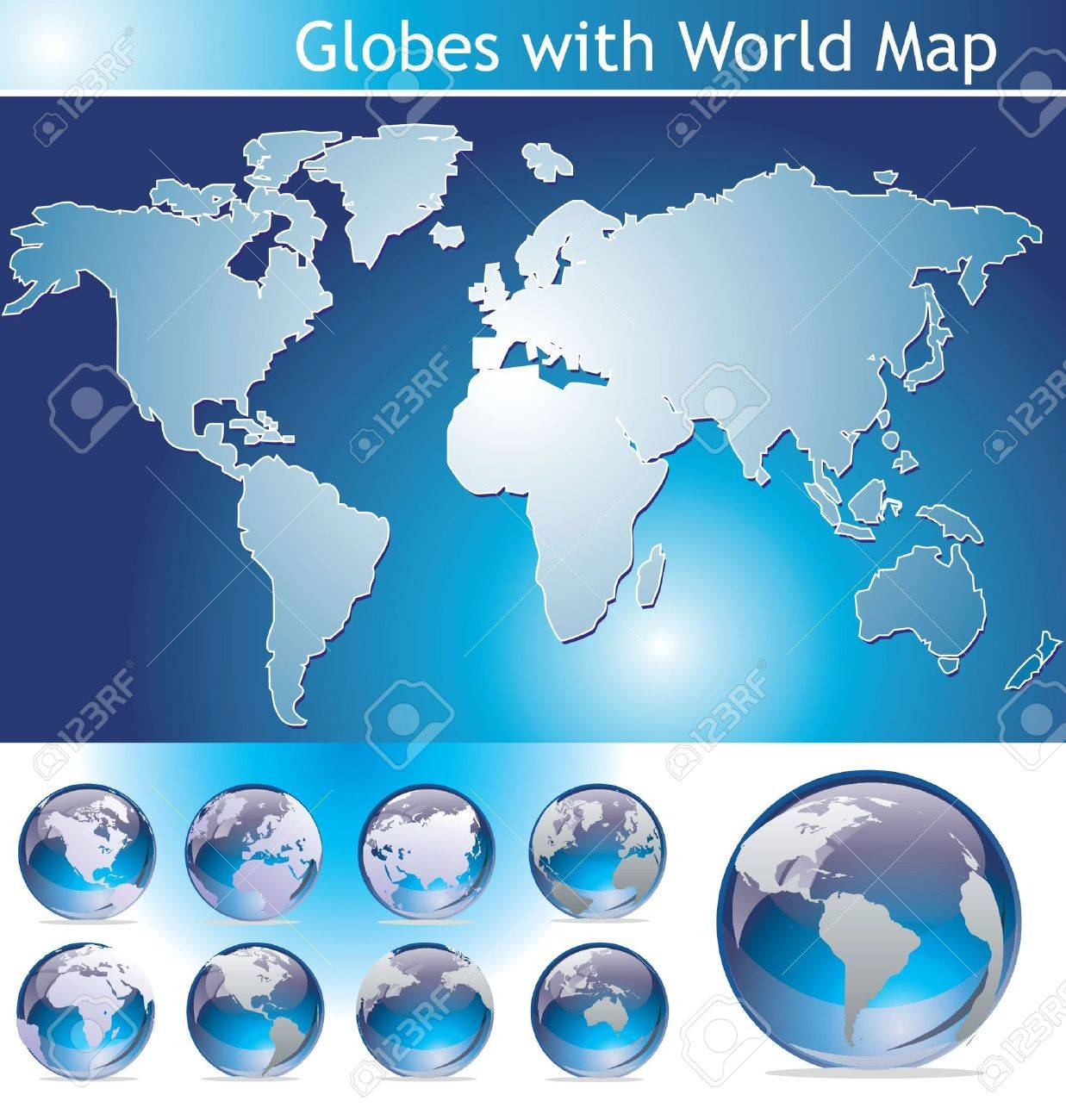 Globes with World Map Stock Vector - 10255494