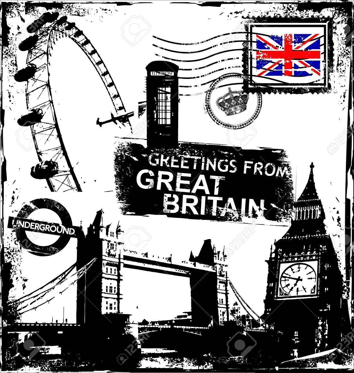 set of grunge London symbols Stock Vector - 10825215