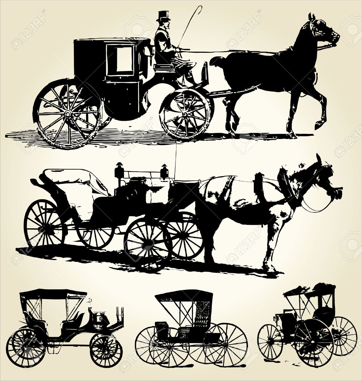 horse and carriage silhouette collection Stock Vector - 10869159