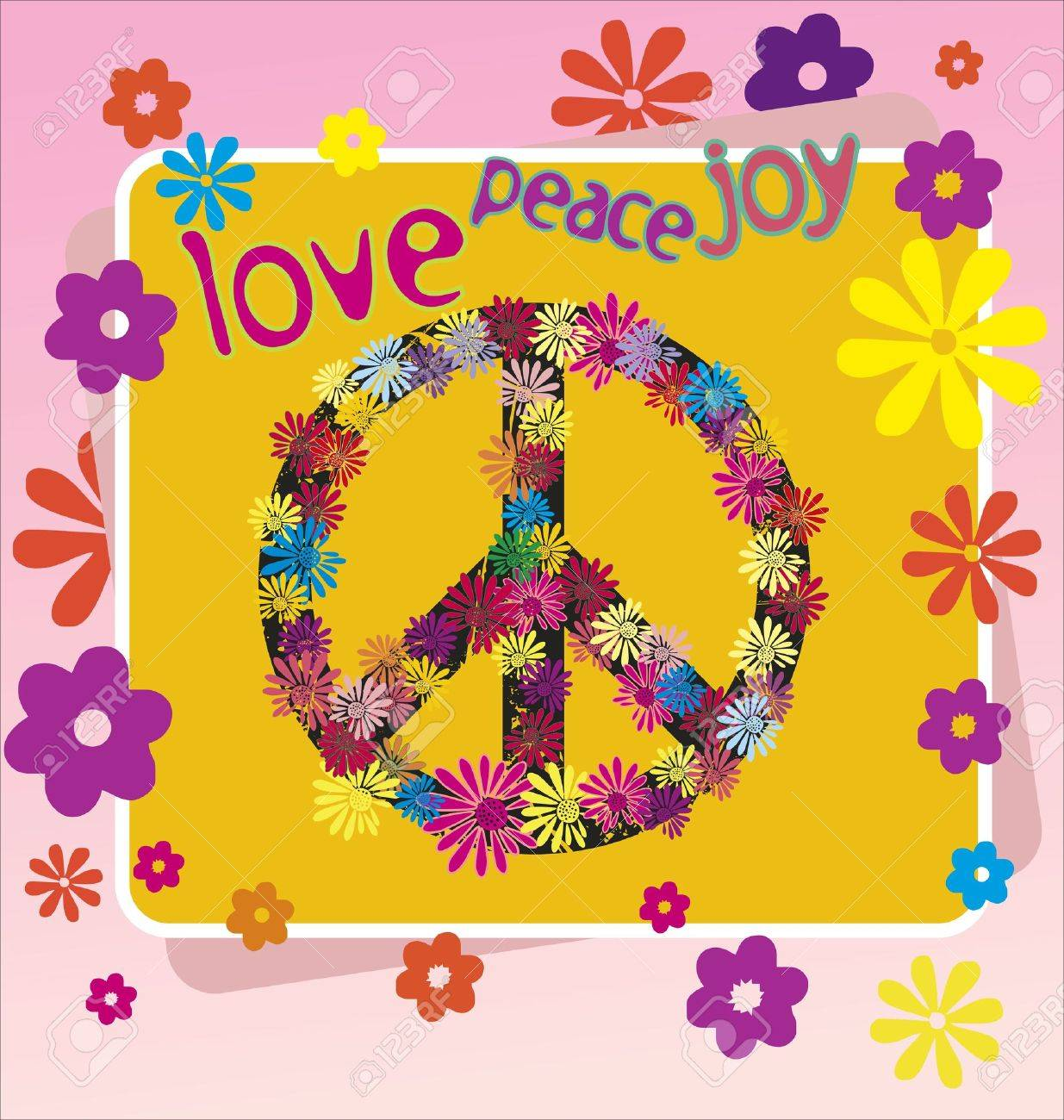 A Illustration Of A Peace Symbol And Flowers Royalty Free Cliparts