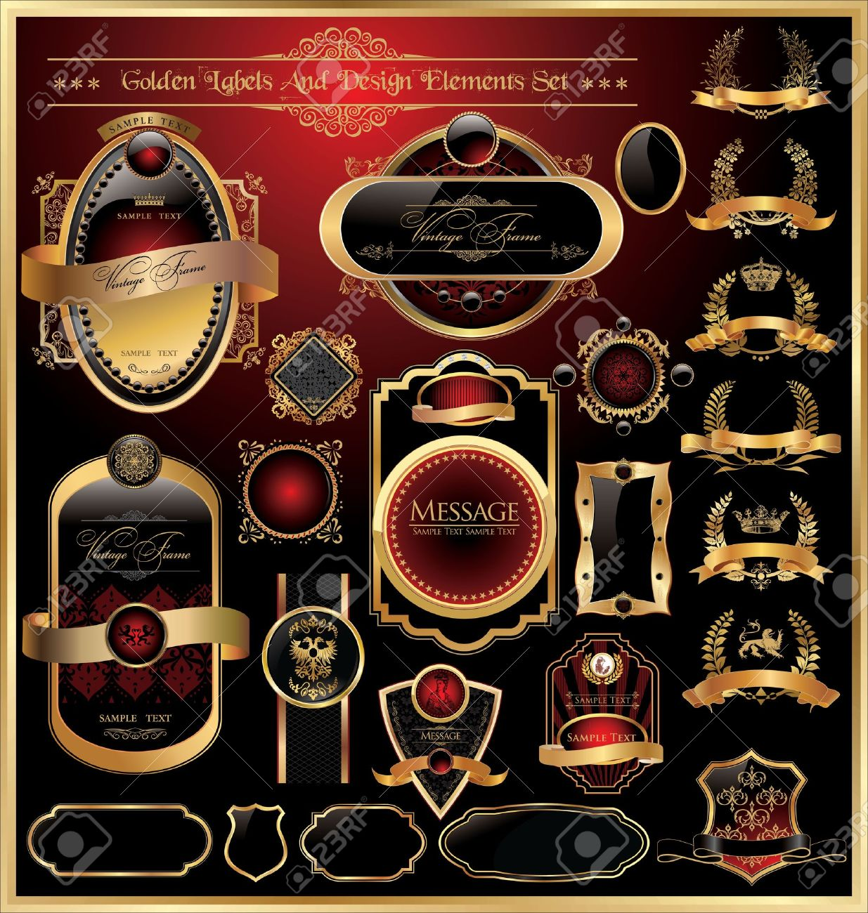 Vector set of golden luxury framed decorative ornate label Stock Vector - 11943701