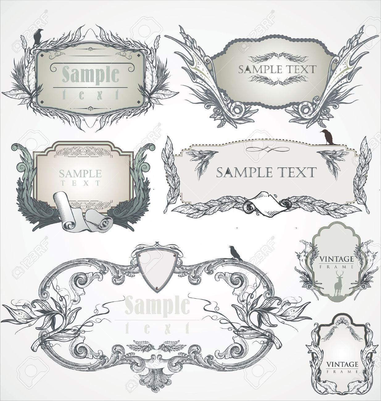 Vintage frame. Flourish heraldry elements. Stock Vector - 12004595