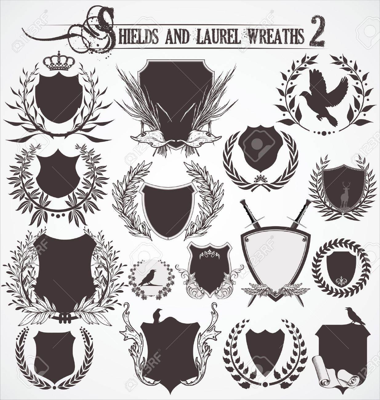 Shields And Laurel Wreaths - set 2 - 12021819