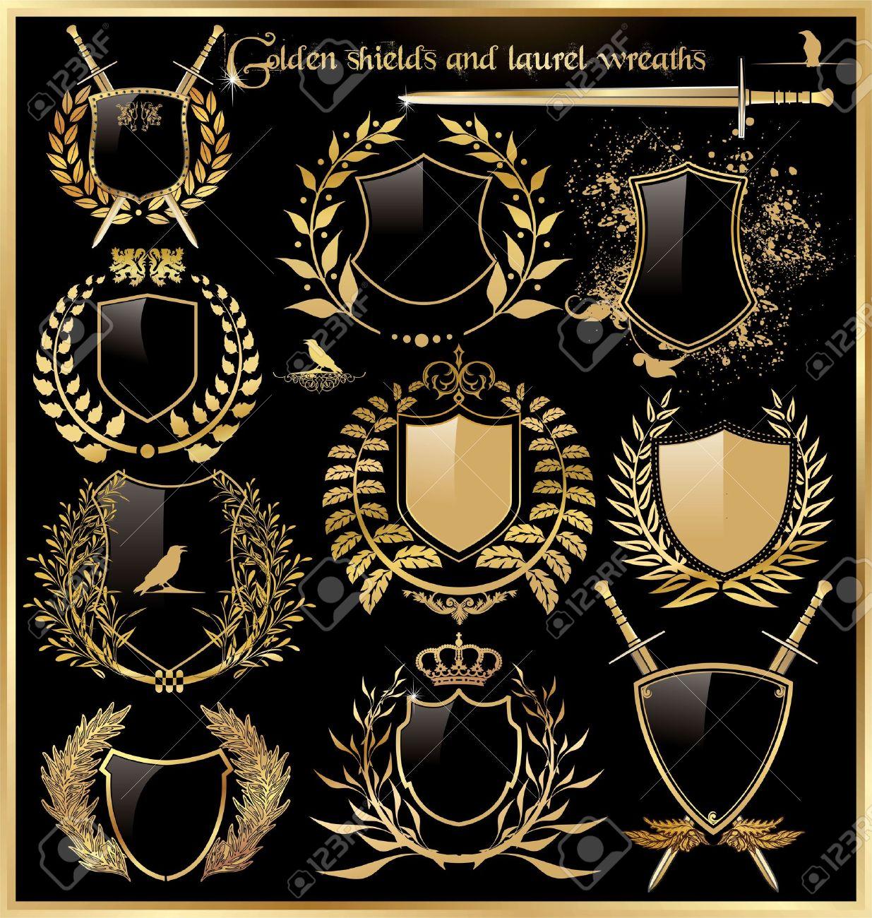 golden shields and laurel wreaths Stock Vector - 12353111
