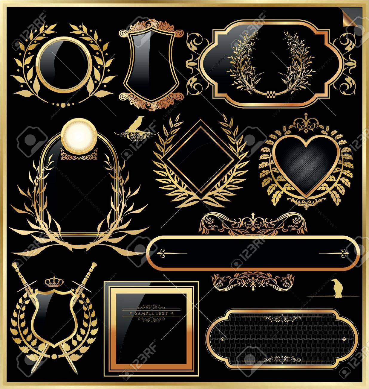 228ffa26ed3 Vector Set Of Black Gold - Framed Labels Royalty Free Cliparts ...