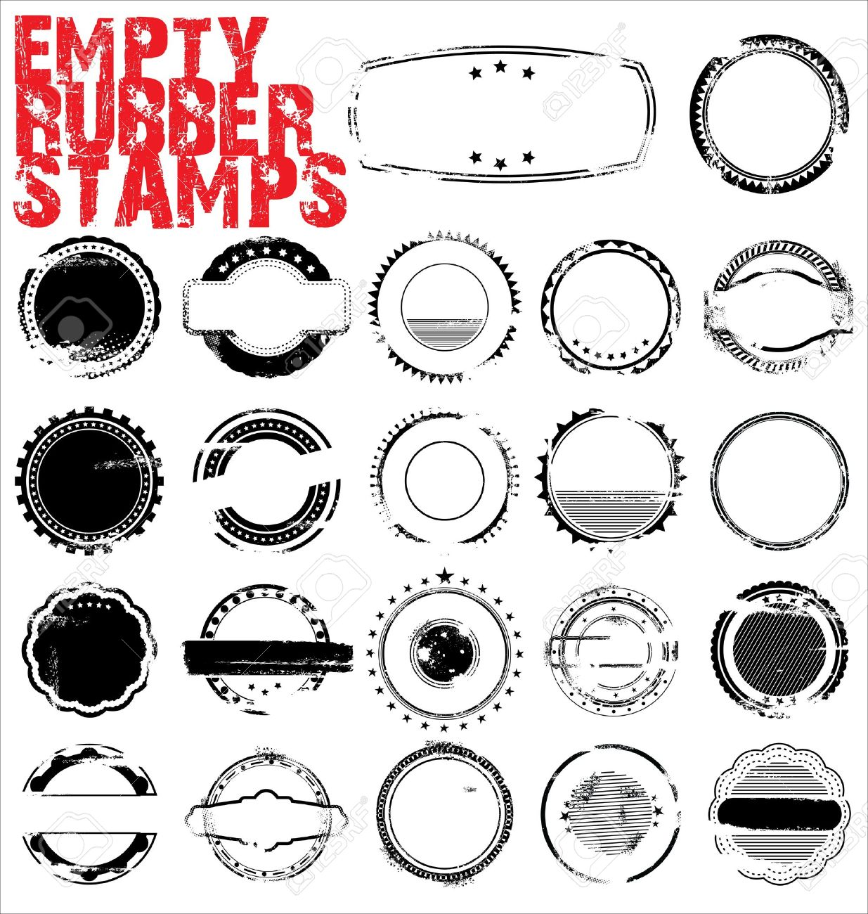 Empty Grunge Rubber Stamps - vector illustration Stock Vector - 12353303