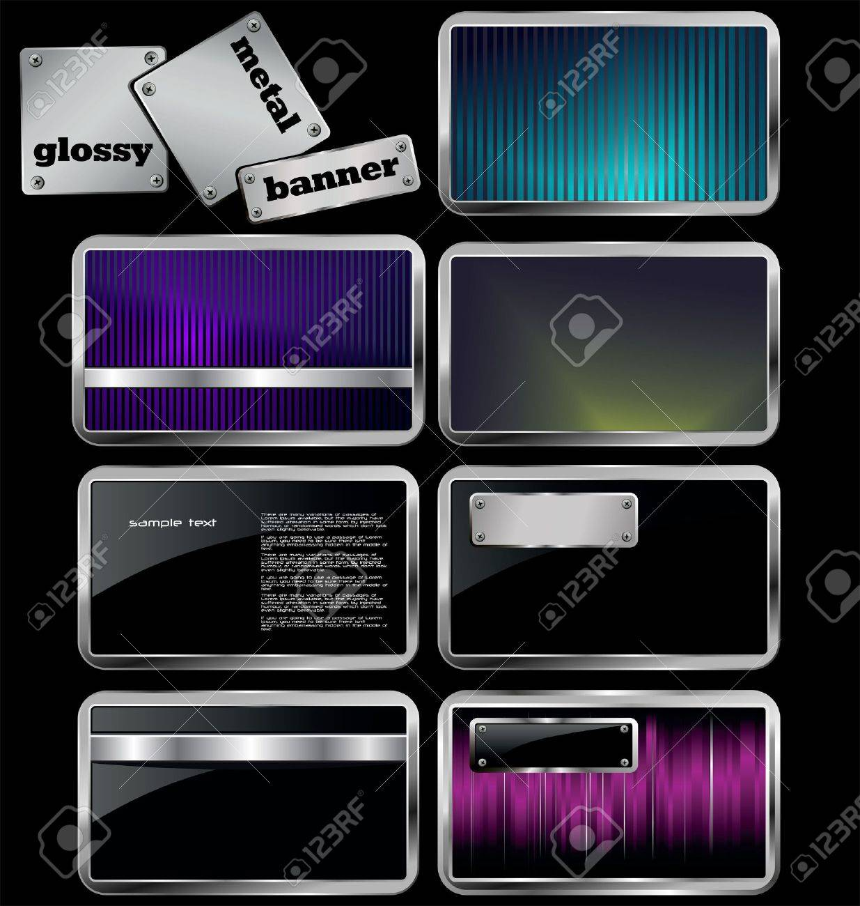 glossy metal banners Stock Vector - 12491468