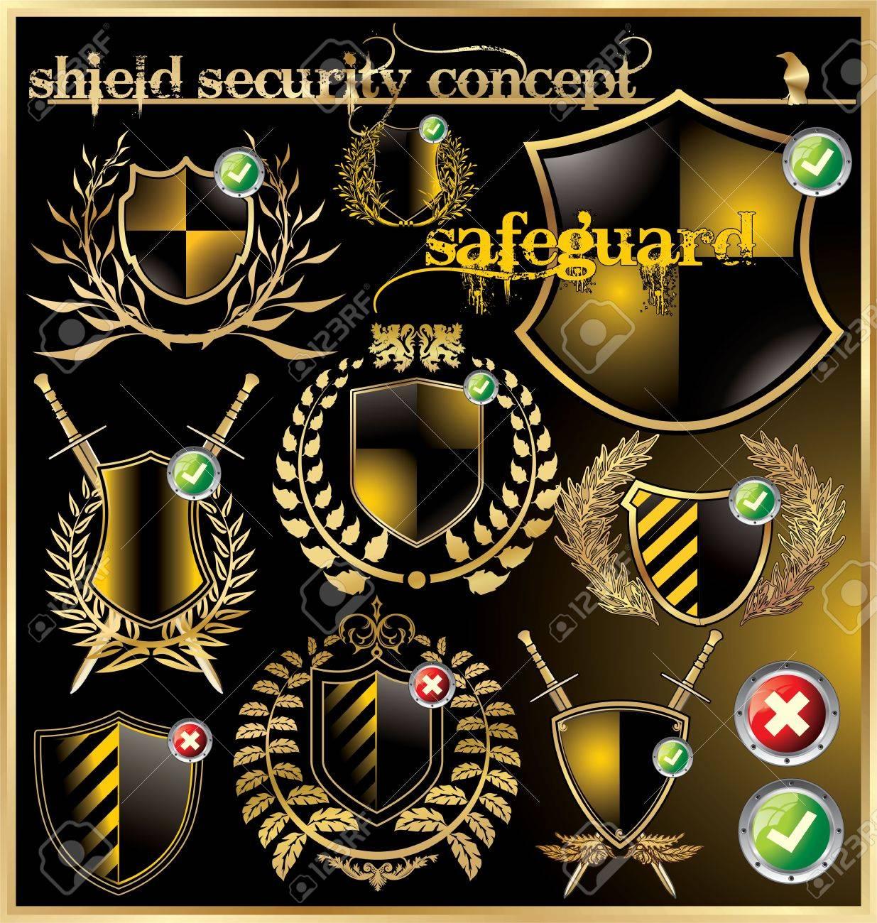 Shield security concept - set Stock Vector - 12852078