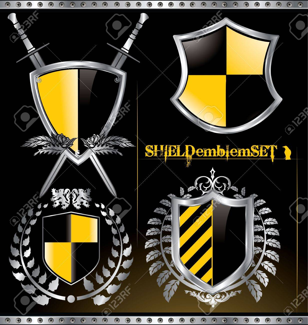 Glossy black and yellow shield emblem set Stock Vector - 12852074