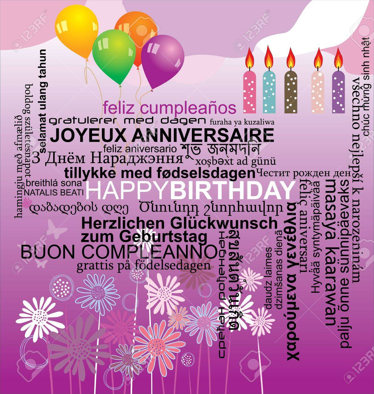 Happy birthday word collage background Stock Vector - 13077689