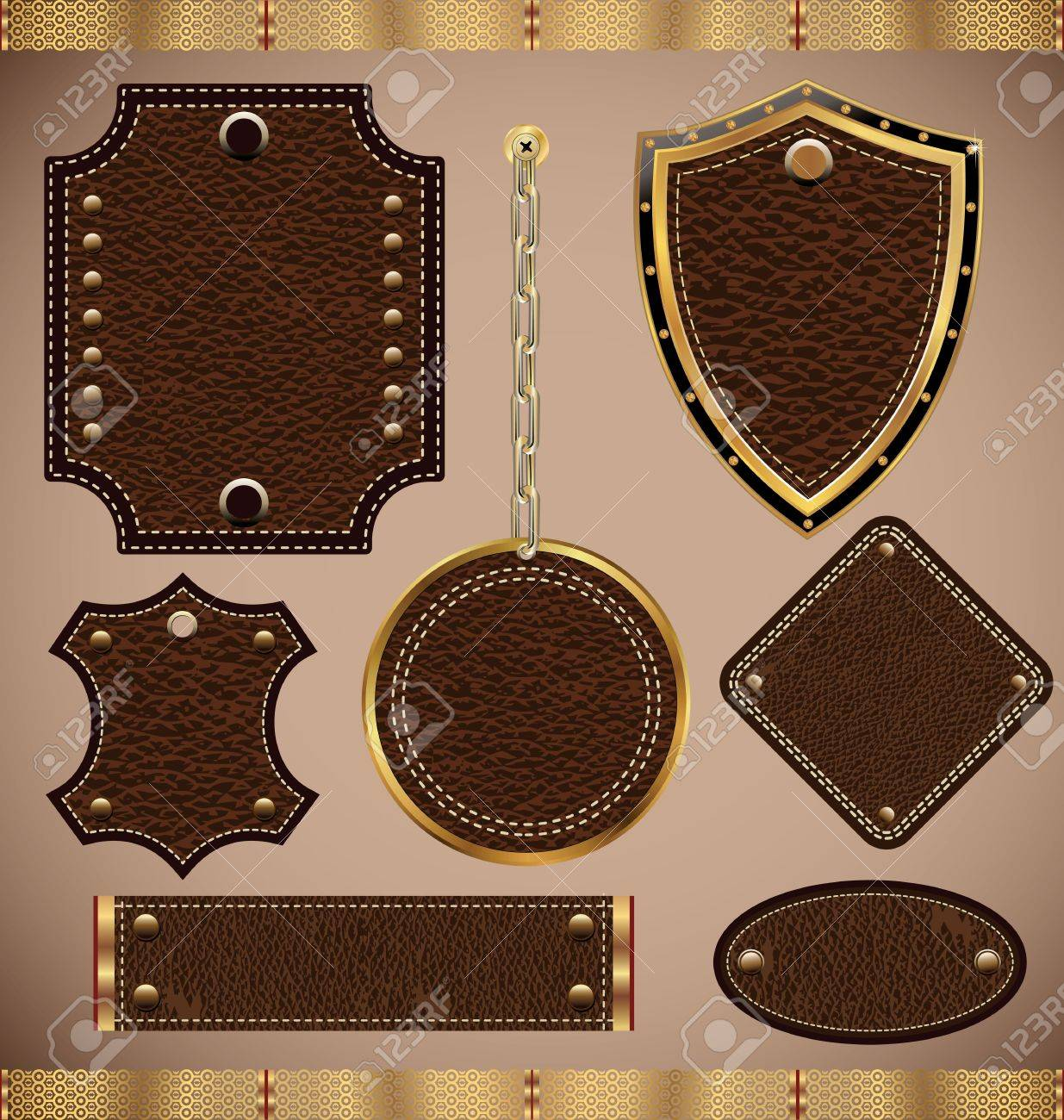 vector set of vector leather frame