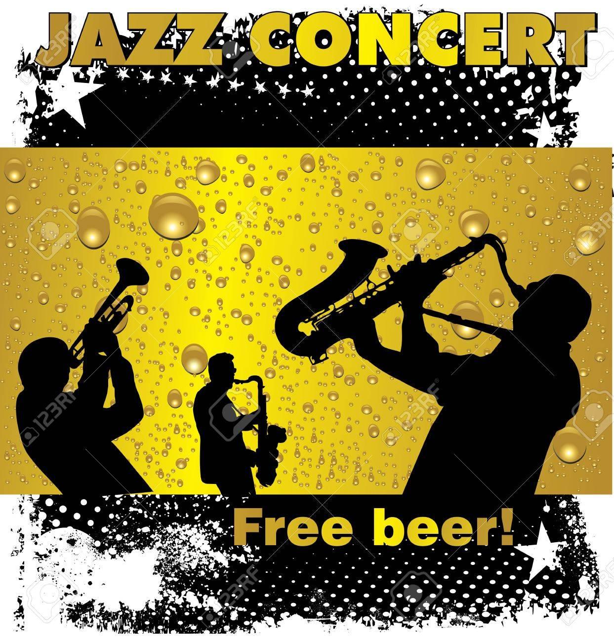 ジャズ コンサート無料ビールの壁紙のイラスト素材 ベクタ Image
