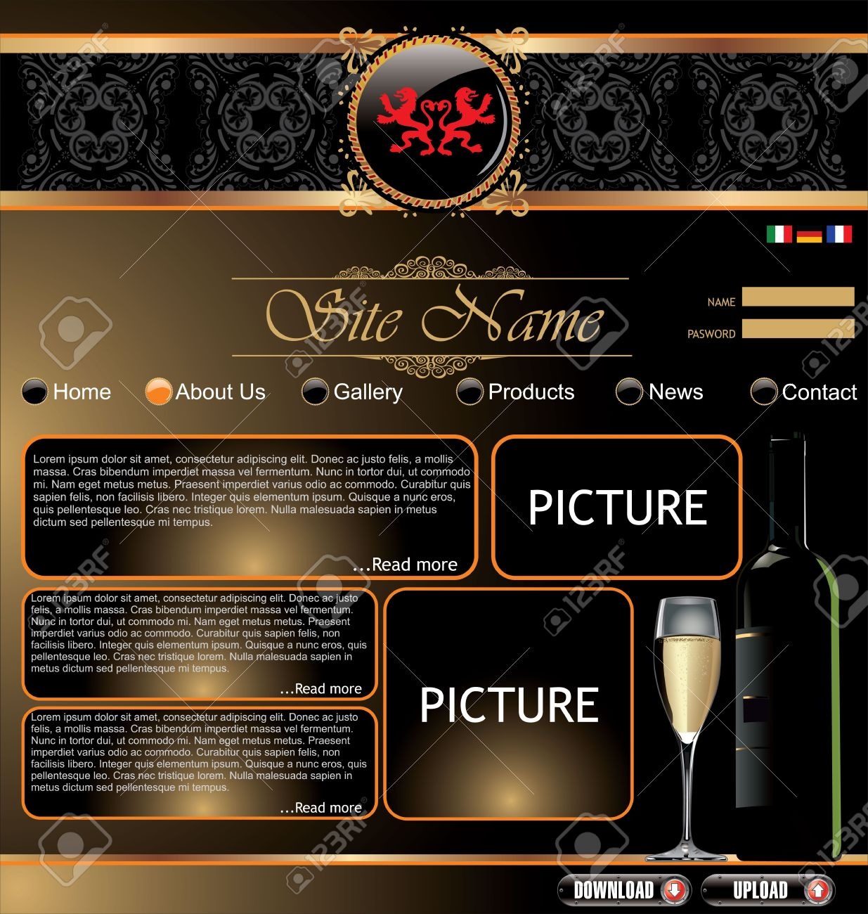 elegant website template royalty free cliparts vectors and stock