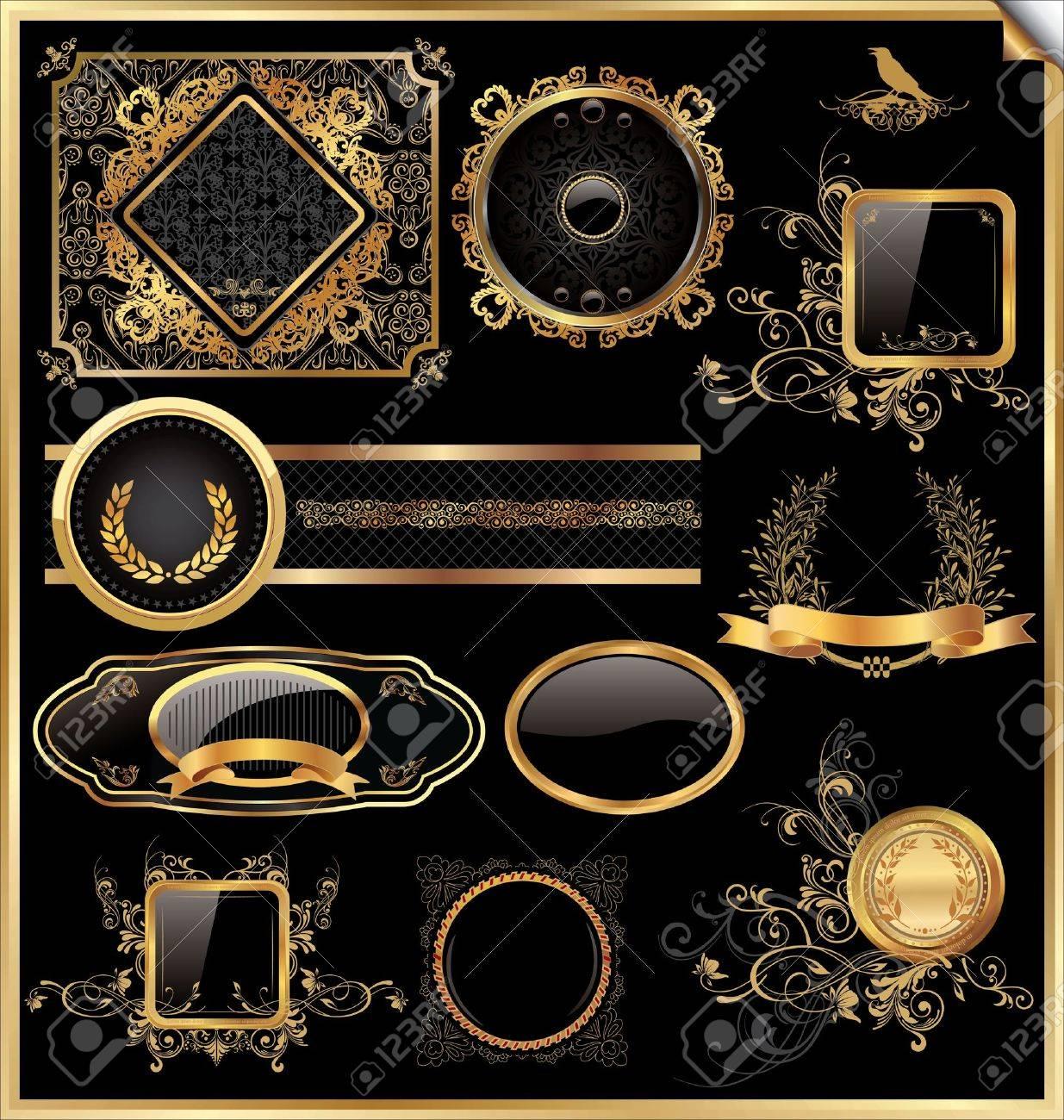 f30c4d29c85 Vector Set Of Vintage Framed Black And Gold Labels Royalty Free ...