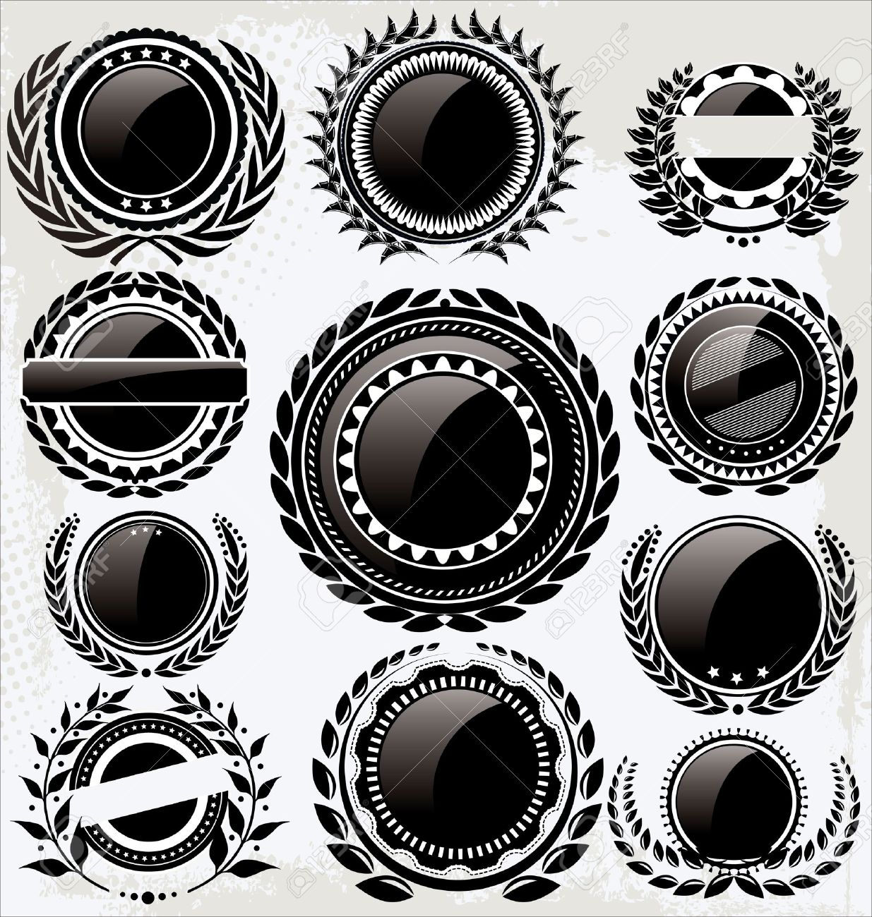Set Of Empty Vintage Retro Black And White Labels Royalty Free ...