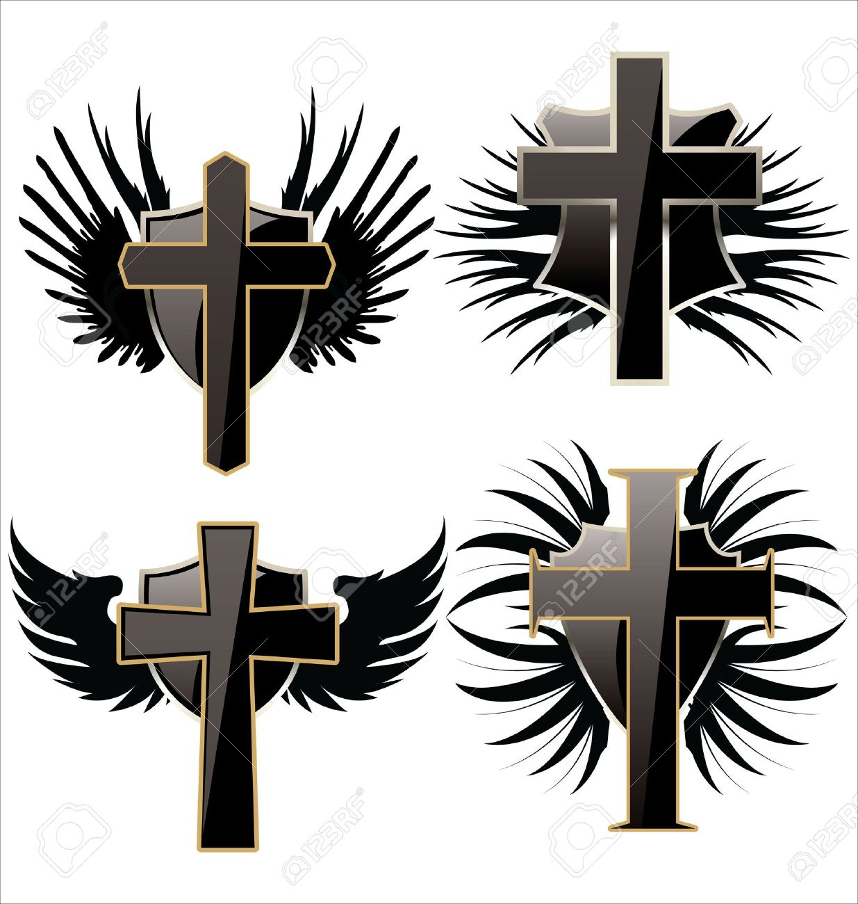 Cross On Black Shield With Wings Set Royalty Free Cliparts Vectors
