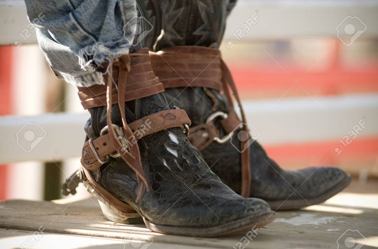 Cowboy Boots Worn By A Rodeo Rider Between Rides Wearing A Pair ...