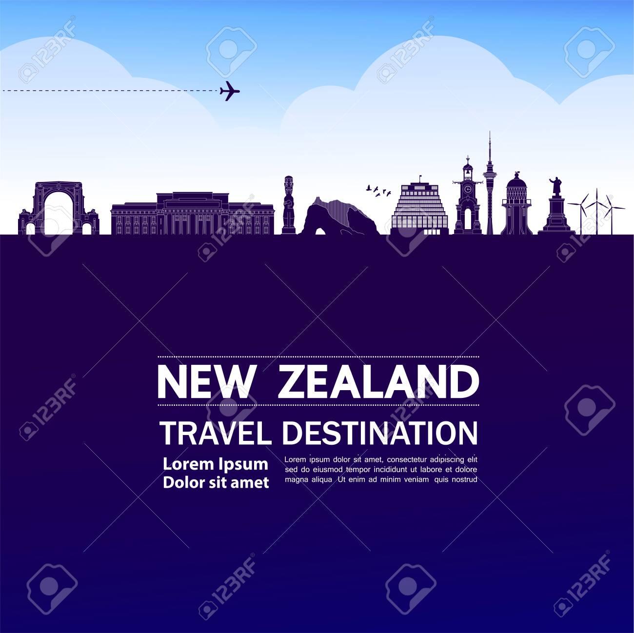 New Zealand travel destination grand vector illustration. - 133341309