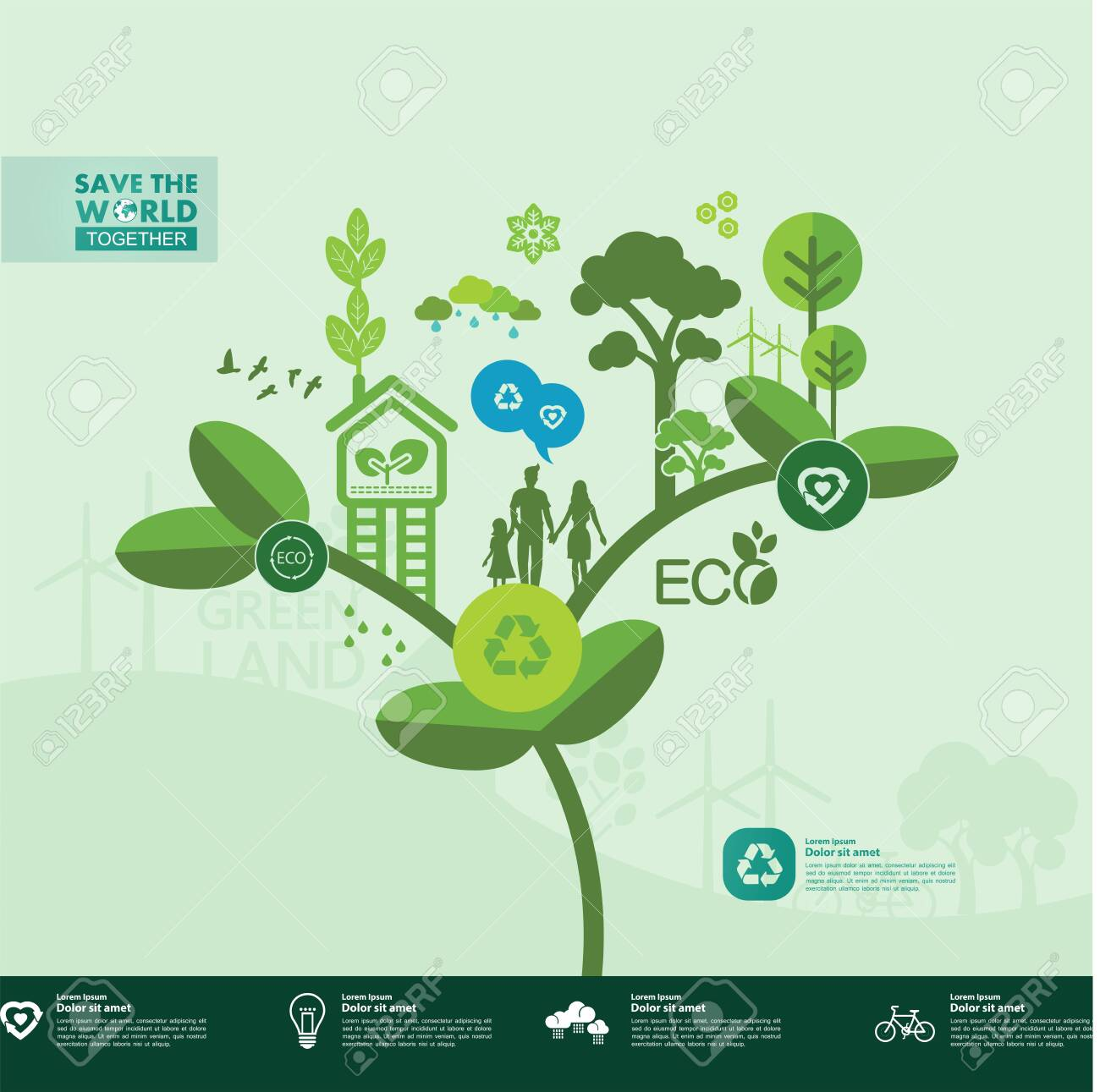 Save the world together green ecology vector illustration. - 138986967