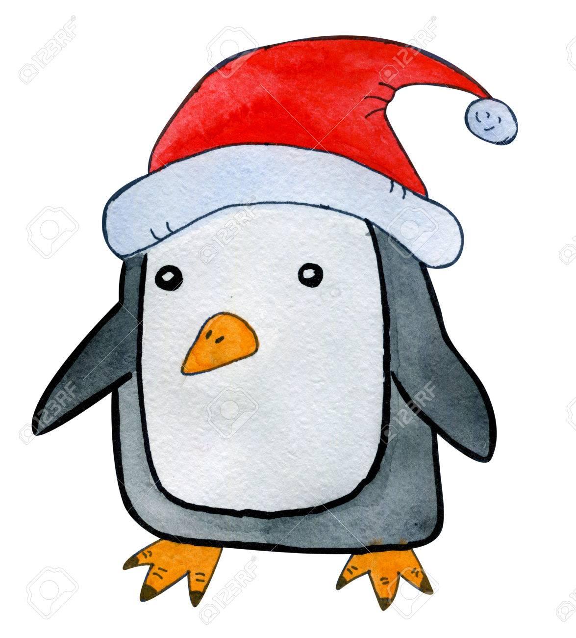 Hermoso Mano Dibujado Acuarela Estilo De Dibujos Animados Pingüino