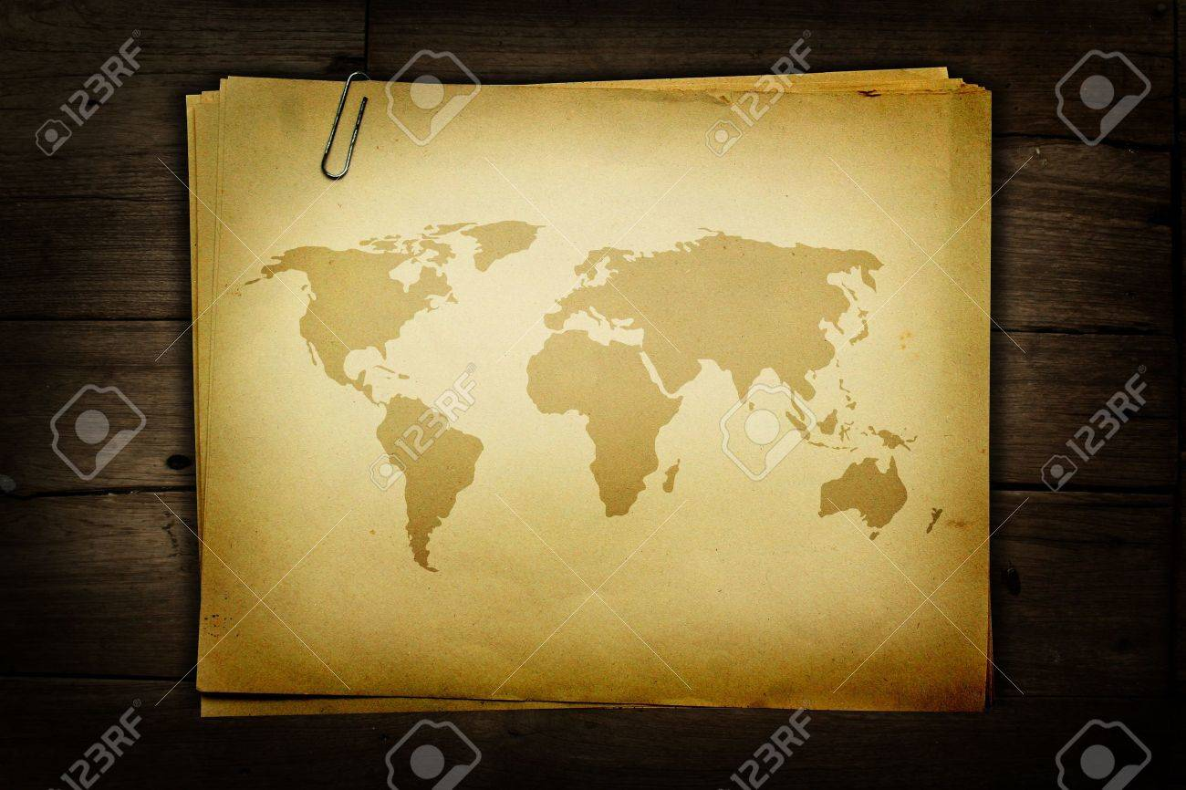 World map on old paper Stock Photo - 10608326