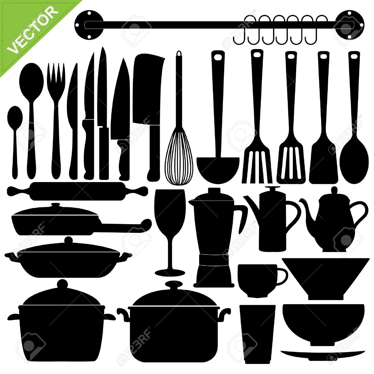 set di sagome di strumenti da cucina clipart royalty-free, vettori ... - Strumenti Cucina