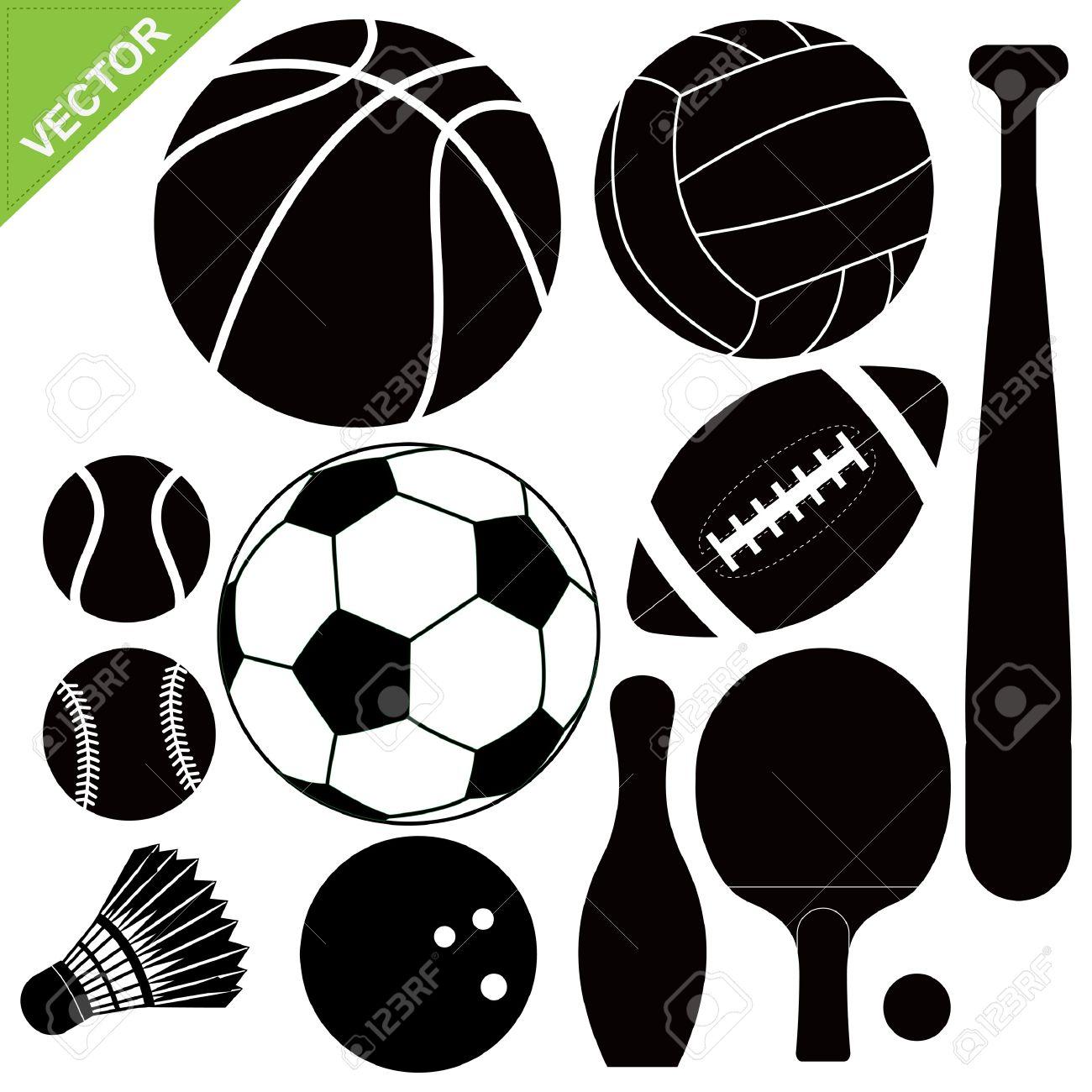 Sport equipment silhouettes Stock Vector - 15222035