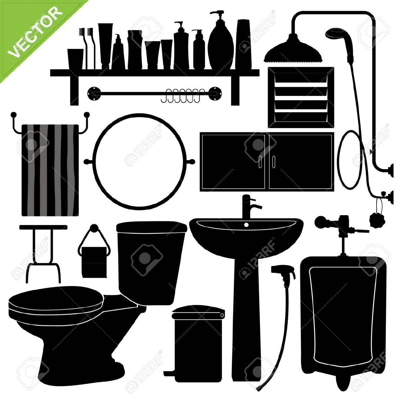 Bathroom silhouette collections Stock Vector - 16028106