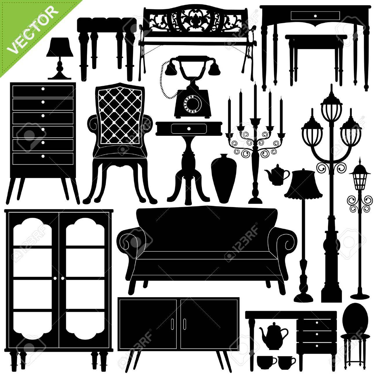 Antique chair silhouette - Set Of Antique Furniture Silhouettes Stock Vector 17376855