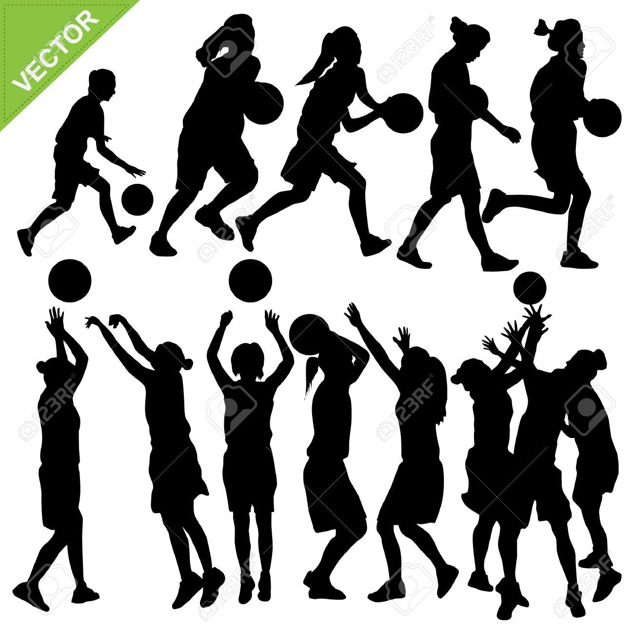 Women play basketball silhouettes Stock Vector - 17699642