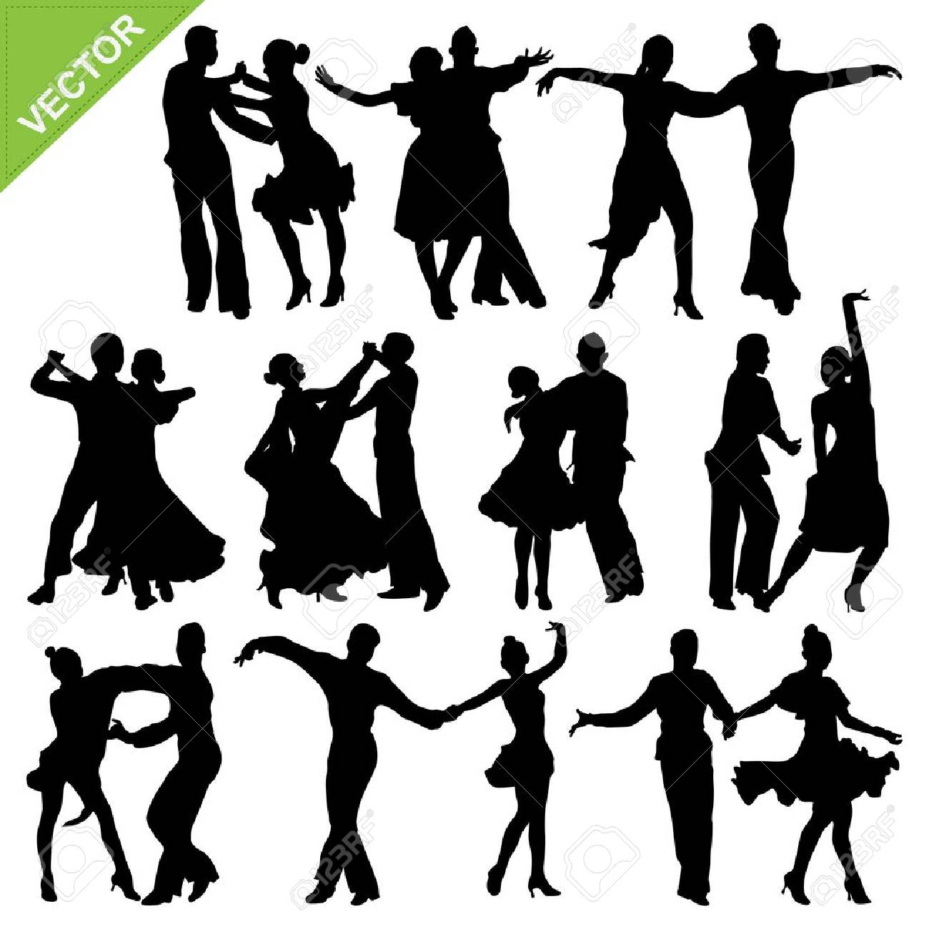 Dancing silhouettes Stock Vector - 18180809