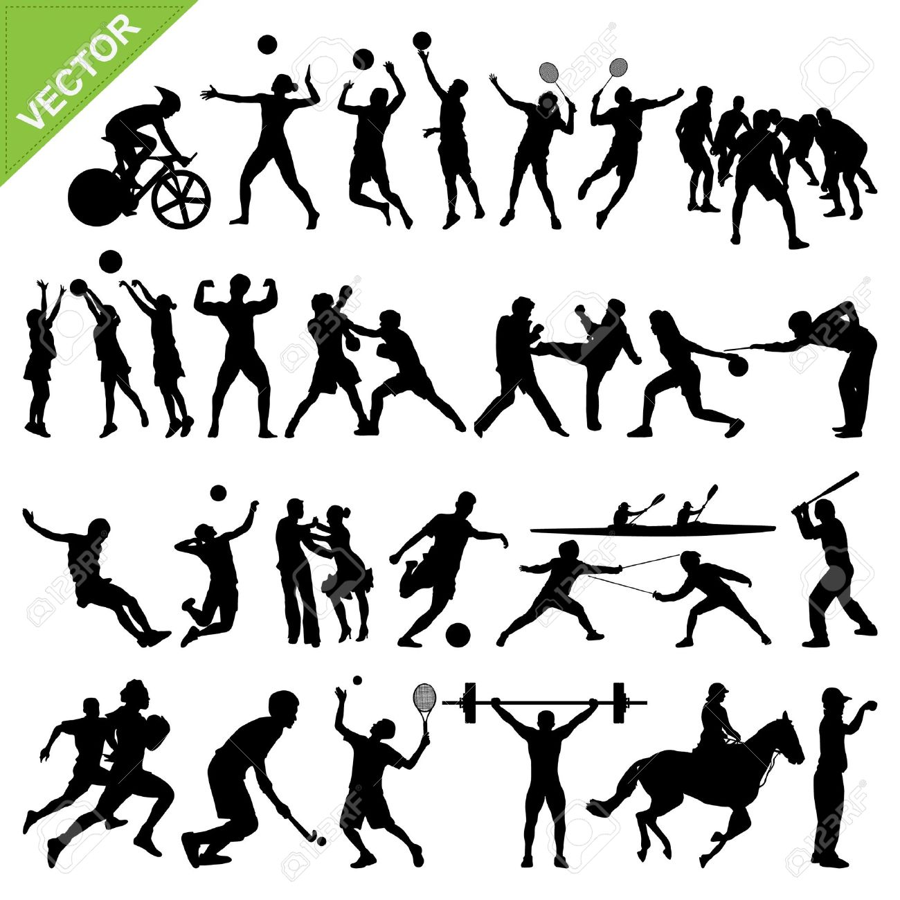 Sport players silhouettes Stock Vector - 18544640