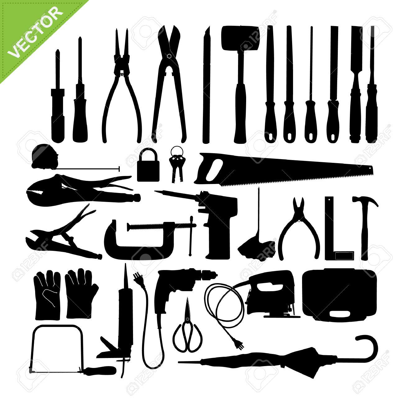 Set Of Tools Silhouette Vector Stock