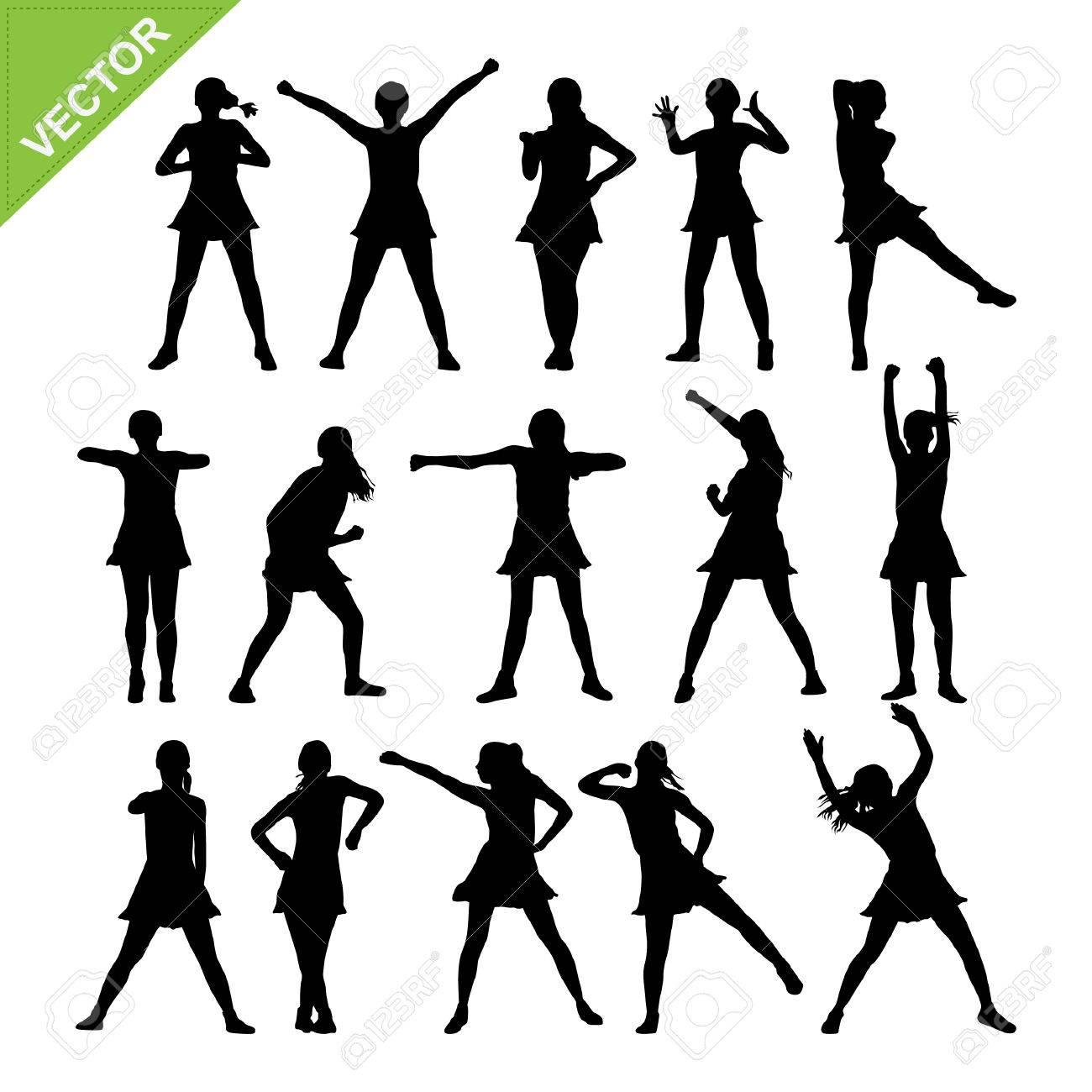 Aerobic dance silhouettes vector - 23111780